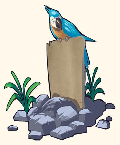 Tombe avec un perroquet