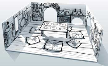 Assemblage des crayonnés de la cuisine - La maison des souris