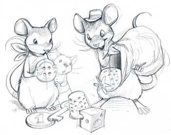 Les premiers crayonnés - La maison des souris